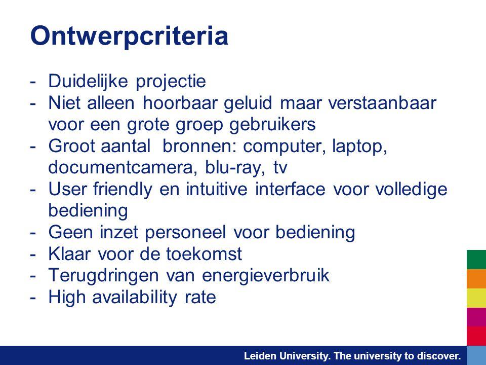 Leiden University. The university to discover. Ontwerpcriteria -Duidelijke projectie -Niet alleen hoorbaar geluid maar verstaanbaar voor een grote gro