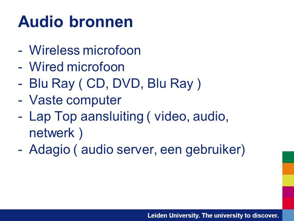 Leiden University. The university to discover. Audio bronnen -Wireless microfoon -Wired microfoon -Blu Ray ( CD, DVD, Blu Ray ) -Vaste computer -Lap T