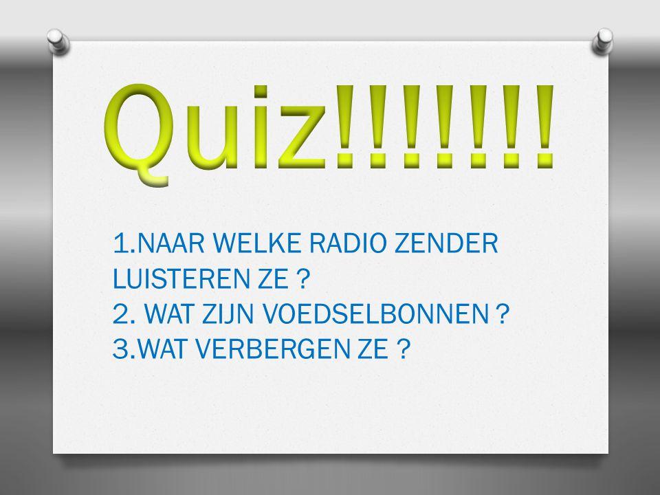 1.NAAR WELKE RADIO ZENDER LUISTEREN ZE ? 2. WAT ZIJN VOEDSELBONNEN ? 3.WAT VERBERGEN ZE ?