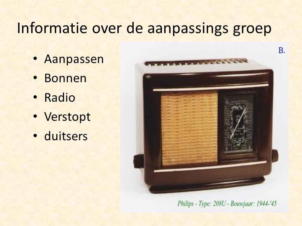 Informatie over de aanpassings groep Aanpassen Bonnen Radio Verstopt duitsers