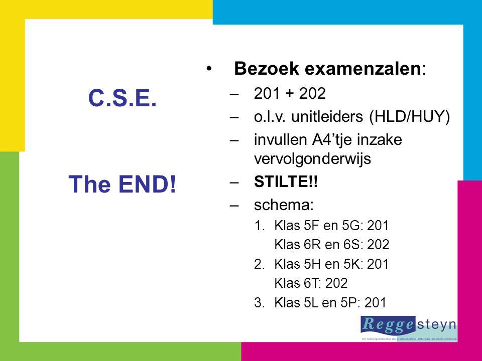 Bezoek examenzalen: –201 + 202 –o.l.v. unitleiders (HLD/HUY) –invullen A4'tje inzake vervolgonderwijs –STILTE!! –schema: 1.Klas 5F en 5G: 201 Klas 6R