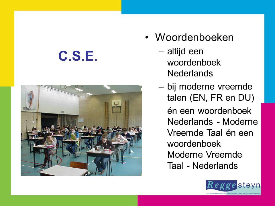 Woordenboeken –altijd een woordenboek Nederlands –bij moderne vreemde talen (EN, FR en DU) én een woordenboek Nederlands - Moderne Vreemde Taal én een woordenboek Moderne Vreemde Taal - Nederlands C.S.E.