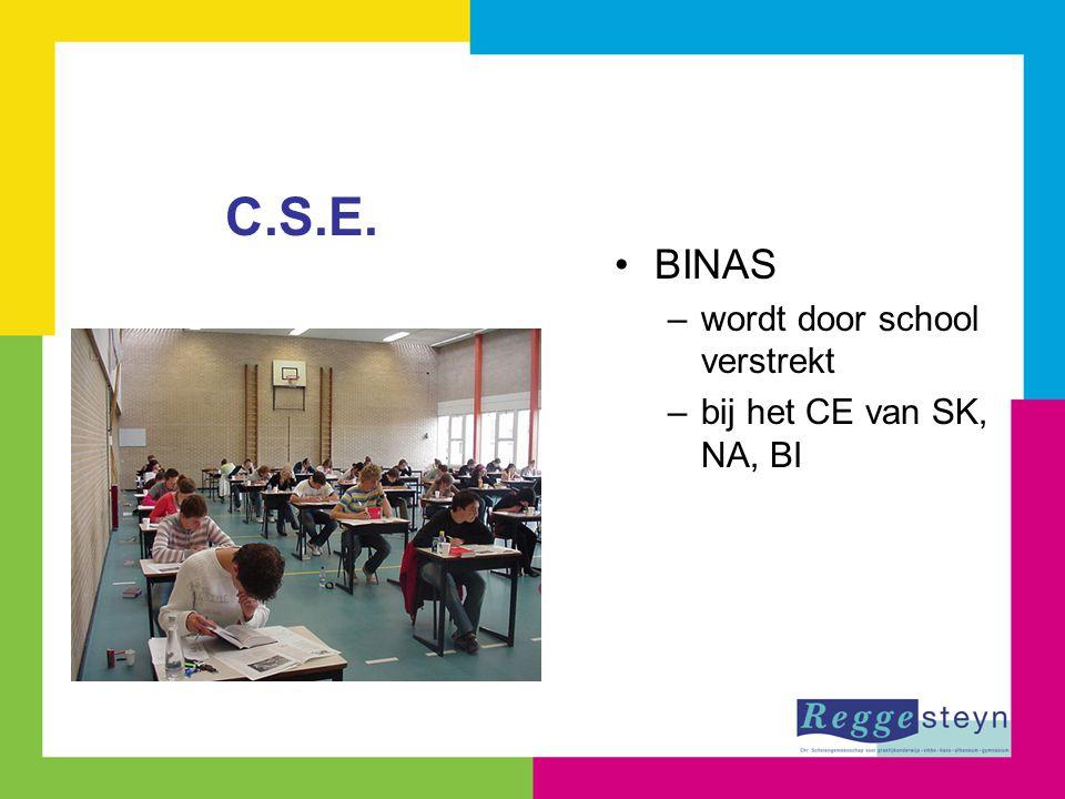 BINAS –wordt door school verstrekt –bij het CE van SK, NA, BI C.S.E.