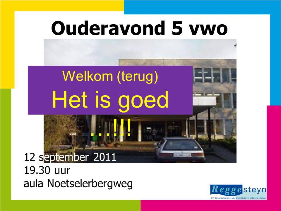 7-8-201411 Ouderavond 5 vwo Het is goed …!!! Welkom (terug) 12 september 2011 19.30 uur aula Noetselerbergweg