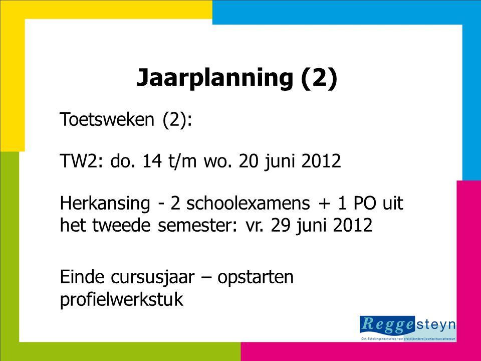 7-8-2014116 Jaarplanning (2) Toetsweken (2): TW2: do. 14 t/m wo. 20 juni 2012 Herkansing - 2 schoolexamens + 1 PO uit het tweede semester: vr. 29 juni