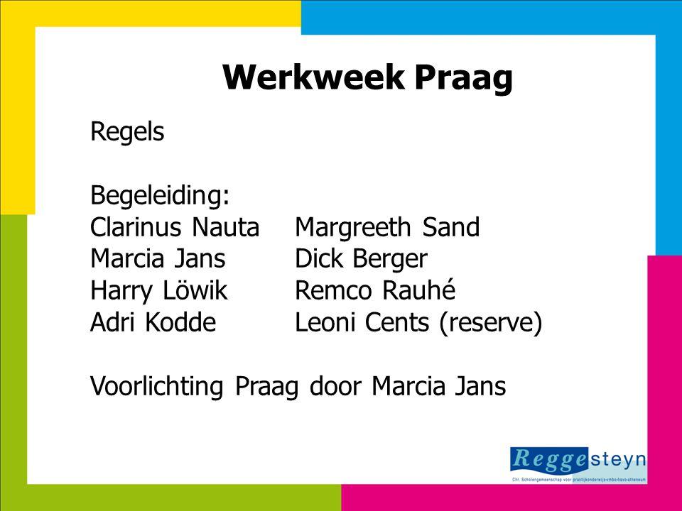 7-8-2014128 Werkweek Praag Regels Begeleiding: Clarinus NautaMargreeth Sand Marcia JansDick Berger Harry LöwikRemco Rauhé Adri KoddeLeoni Cents (reser