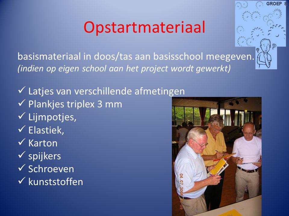 Opstartmateriaal basismateriaal in doos/tas aan basisschool meegeven. (indien op eigen school aan het project wordt gewerkt) Latjes van verschillende