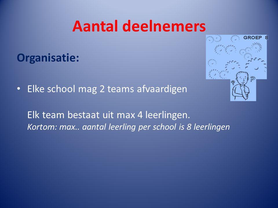 Aantal deelnemers Organisatie: Elke school mag 2 teams afvaardigen Elk team bestaat uit max 4 leerlingen. Kortom: max.. aantal leerling per school is