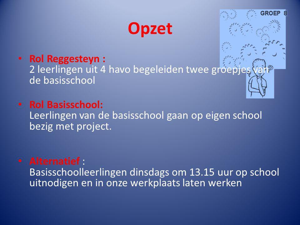 Opzet Rol Reggesteyn : 2 leerlingen uit 4 havo begeleiden twee groepjes van de basisschool Rol Basisschool: Leerlingen van de basisschool gaan op eige