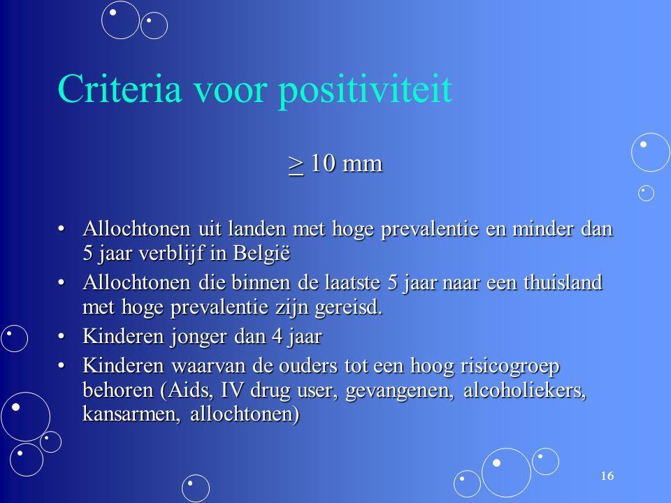 15 Criteria voor positiviteit > 5 mm HIV-positieve personenHIV-positieve personen Recent contact met open TBCRecent contact met open TBC RX suggestief