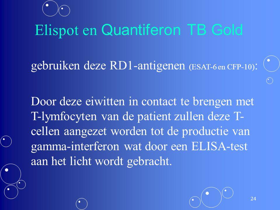 23 Betere opsporingsmethodes? In het genoom van M. tuberculosis codeert het RD1-segment voor de vorming van twee antigenen die quasi specifiek zijn vo