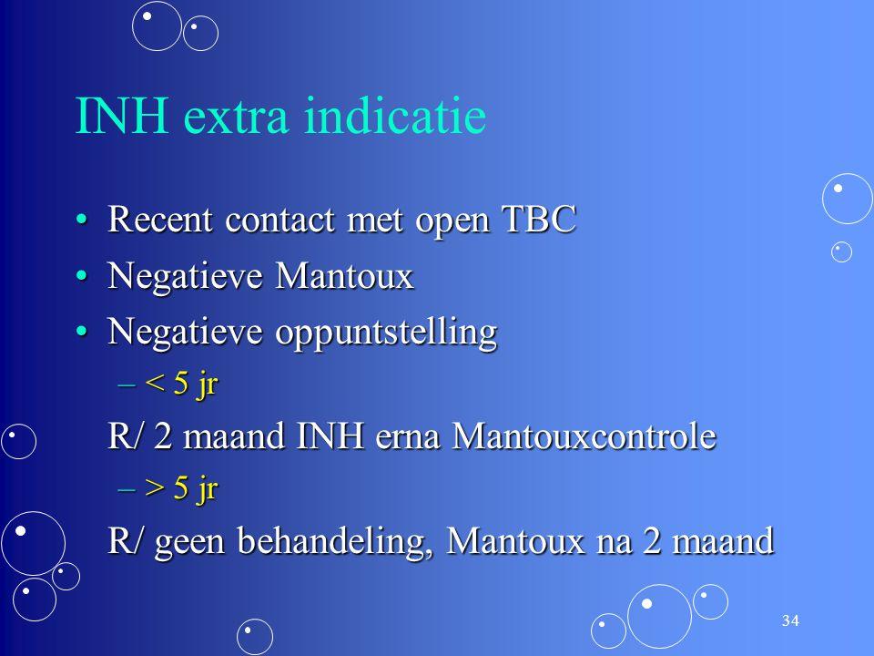 33 INH nevenwerkingen Zijn zeldzaam bij kinderenZijn zeldzaam bij kinderen Depressie van hematopoieseDepressie van hematopoiese RashRash Stijging van
