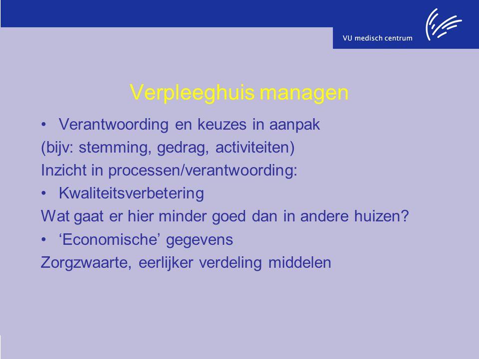 Verpleeghuis managen Verantwoording en keuzes in aanpak (bijv: stemming, gedrag, activiteiten) Inzicht in processen/verantwoording: Kwaliteitsverbetering Wat gaat er hier minder goed dan in andere huizen.