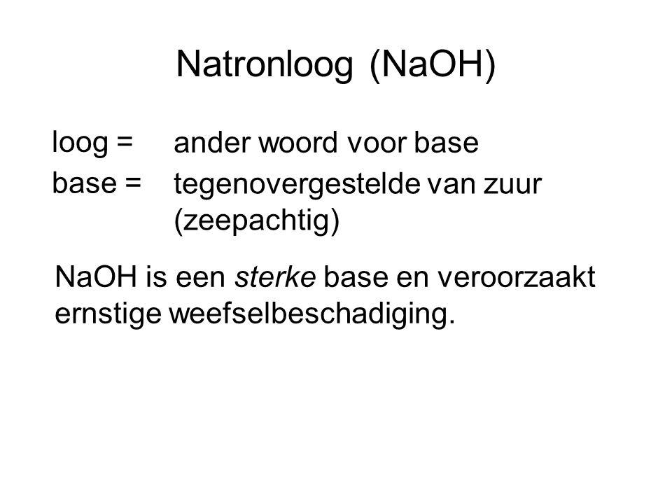 Natronloog (NaOH) loog = ander woord voor base base = tegenovergestelde van zuur (zeepachtig) NaOH is een sterke base en veroorzaakt ernstige weefselb