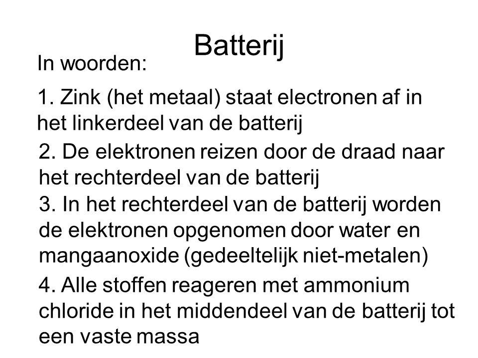 Batterij In woorden: 1. Zink (het metaal) staat electronen af in het linkerdeel van de batterij 2. De elektronen reizen door de draad naar het rechter