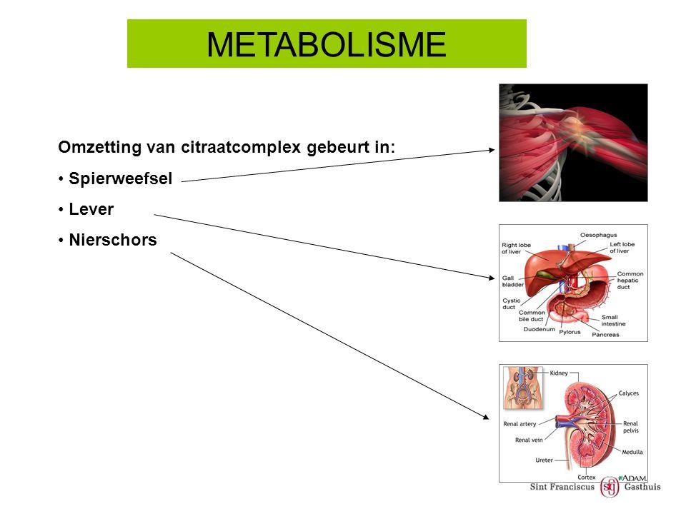 Omzetting van citraatcomplex gebeurt in: Spierweefsel Lever Nierschors METABOLISME