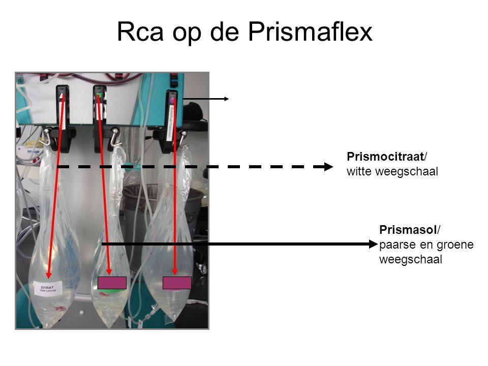 Rca op de Prismaflex Prismocitraat/ witte weegschaal Prismasol/ paarse en groene weegschaal