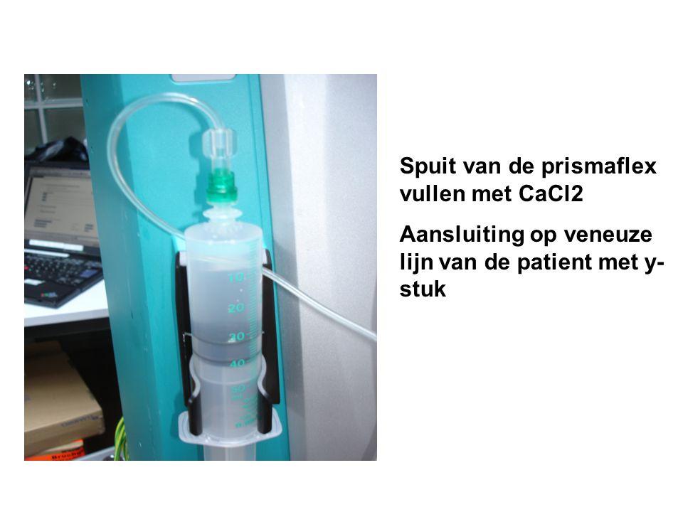 Spuit van de prismaflex vullen met CaCl2 Aansluiting op veneuze lijn van de patient met y- stuk