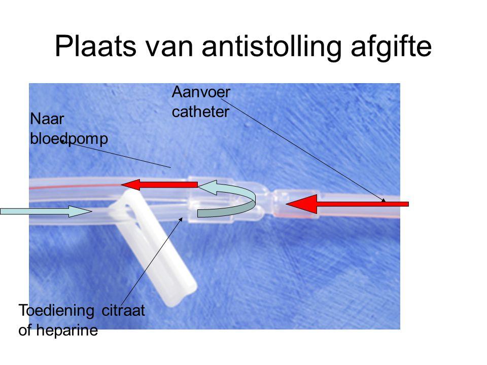 Plaats van antistolling afgifte Aanvoer catheter Naar bloedpomp Toediening citraat of heparine
