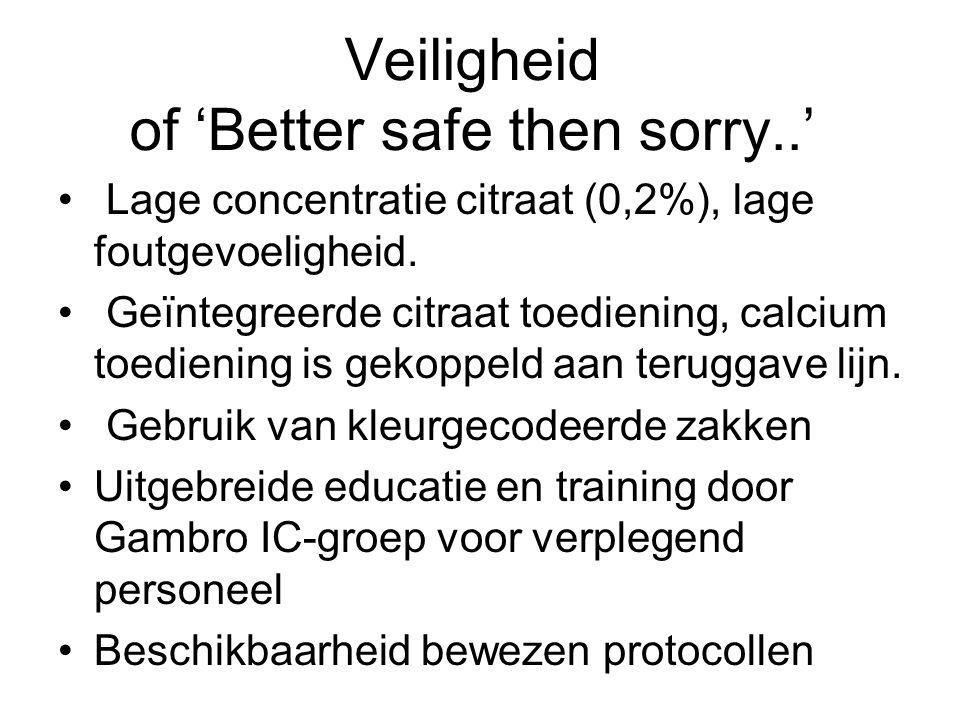 Veiligheid of 'Better safe then sorry..' Lage concentratie citraat (0,2%), lage foutgevoeligheid. Geïntegreerde citraat toediening, calcium toediening