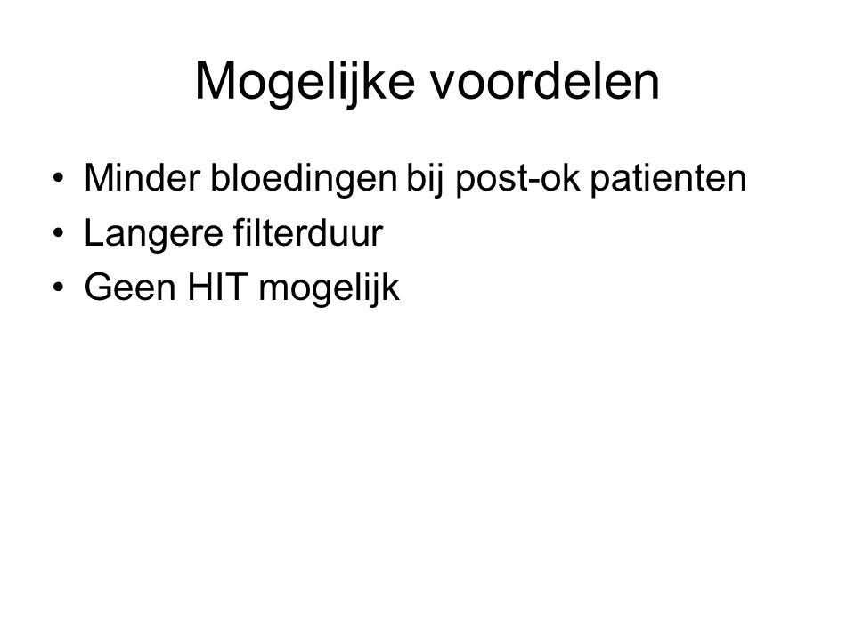 Mogelijke voordelen Minder bloedingen bij post-ok patienten Langere filterduur Geen HIT mogelijk