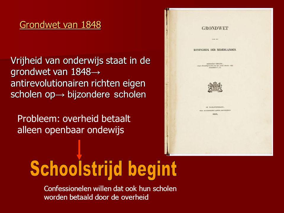 Vrijheid van onderwijs staat in de grondwet van 1848 → antirevolutionairen richten eigen scholen op → bijzondere scholen Grondwet van 1848 Grondwet va