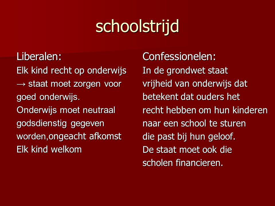 schoolstrijd Liberalen: Elk kind recht op onderwijs → staat moet zorgen voor goed onderwijs. Onderwijs moet neutraal godsdienstig gegeven worden, onge