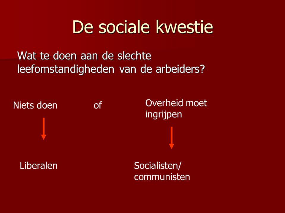 De sociale kwestie Wat te doen aan de slechte leefomstandigheden van de arbeiders? Niets doen Liberalen of Overheid moet ingrijpen Socialisten/ commun