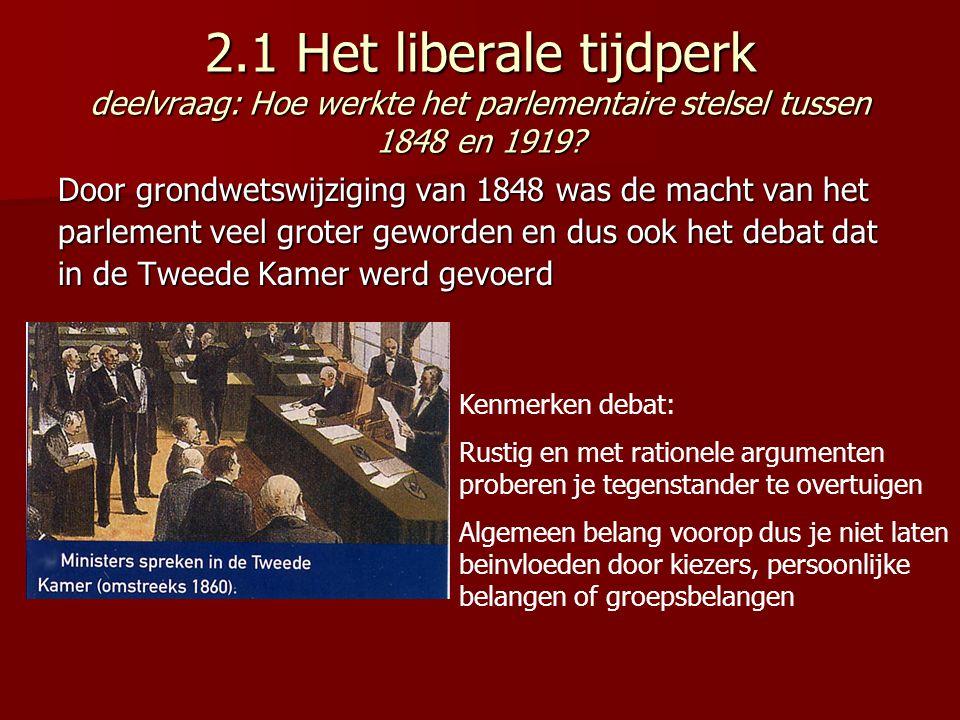 2.1 Het liberale tijdperk deelvraag: Hoe werkte het parlementaire stelsel tussen 1848 en 1919? Door grondwetswijziging van 1848 was de macht van het p