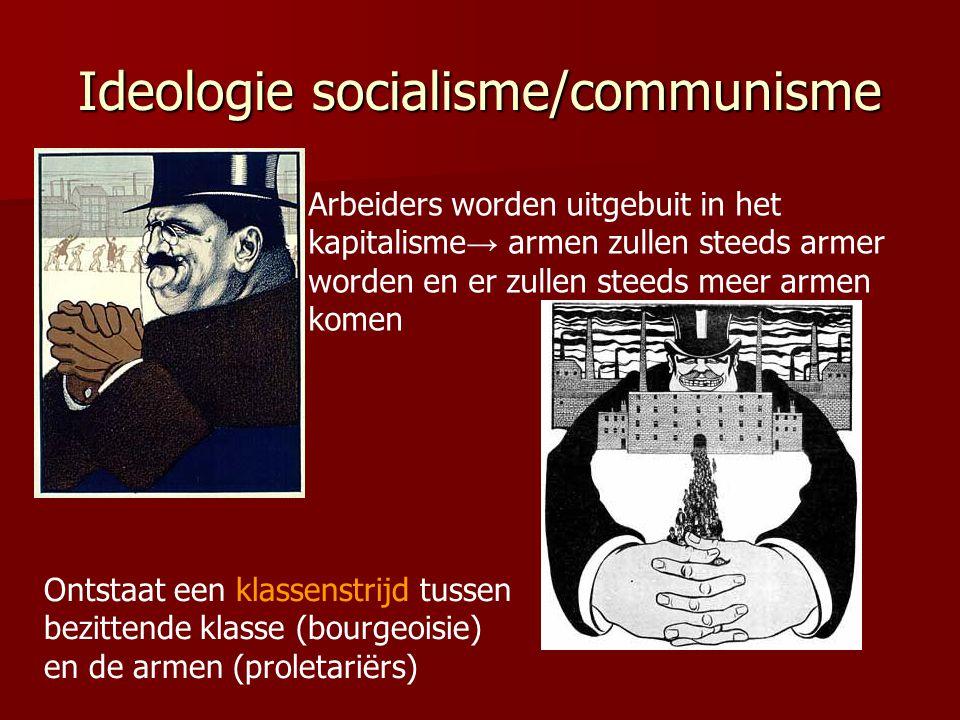 Ideologie socialisme/communisme Arbeiders worden uitgebuit in het kapitalisme → armen zullen steeds armer worden en er zullen steeds meer armen komen