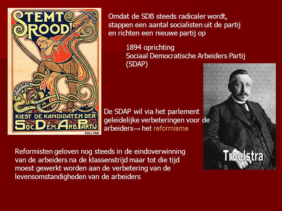 1894 oprichting Sociaal Democratische Arbeiders Partij (SDAP) Omdat de SDB steeds radicaler wordt, stappen een aantal socialisten uit de partij en ric
