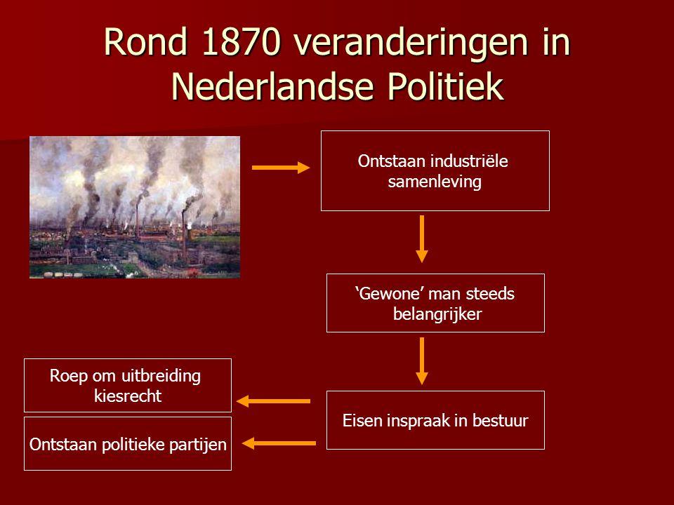 Rond 1870 veranderingen in Nederlandse Politiek Ontstaan industriële samenleving 'Gewone' man steeds belangrijker Eisen inspraak in bestuur Ontstaan p