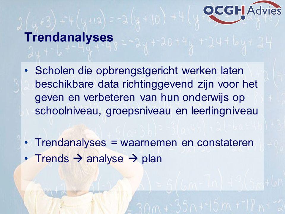 Trendanalyses Scholen die opbrengstgericht werken laten beschikbare data richtinggevend zijn voor het geven en verbeteren van hun onderwijs op schooln