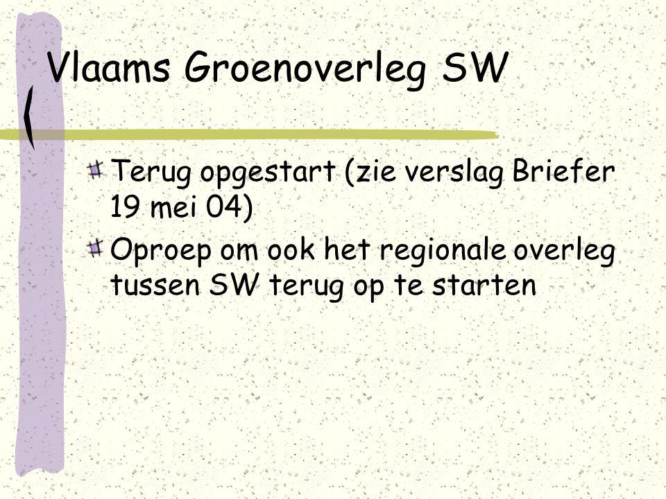 Vlaams Groenoverleg SW Terug opgestart (zie verslag Briefer 19 mei 04) Oproep om ook het regionale overleg tussen SW terug op te starten