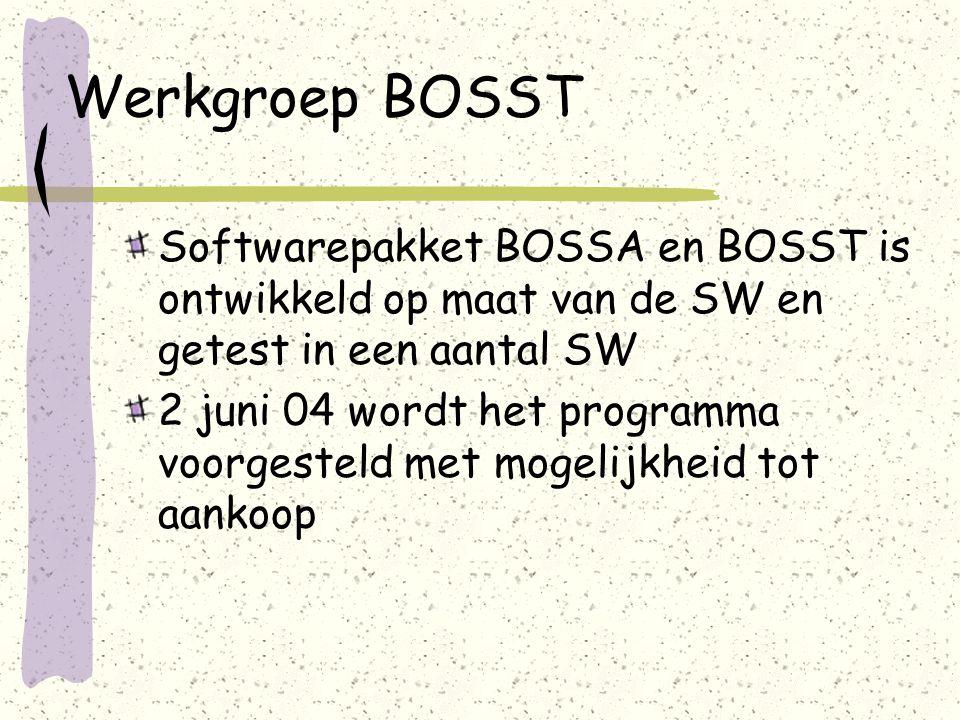 Werkgroep BOSST Softwarepakket BOSSA en BOSST is ontwikkeld op maat van de SW en getest in een aantal SW 2 juni 04 wordt het programma voorgesteld met mogelijkheid tot aankoop