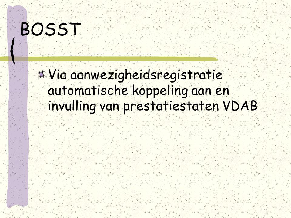 BOSST Via aanwezigheidsregistratie automatische koppeling aan en invulling van prestatiestaten VDAB