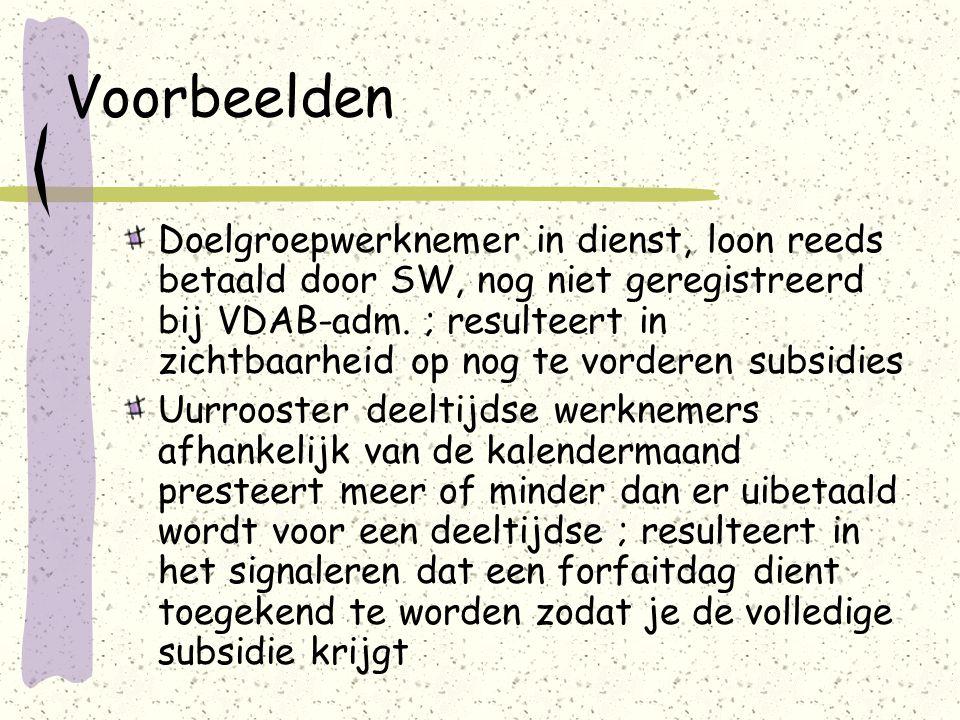 Voorbeelden Doelgroepwerknemer in dienst, loon reeds betaald door SW, nog niet geregistreerd bij VDAB-adm. ; resulteert in zichtbaarheid op nog te vor
