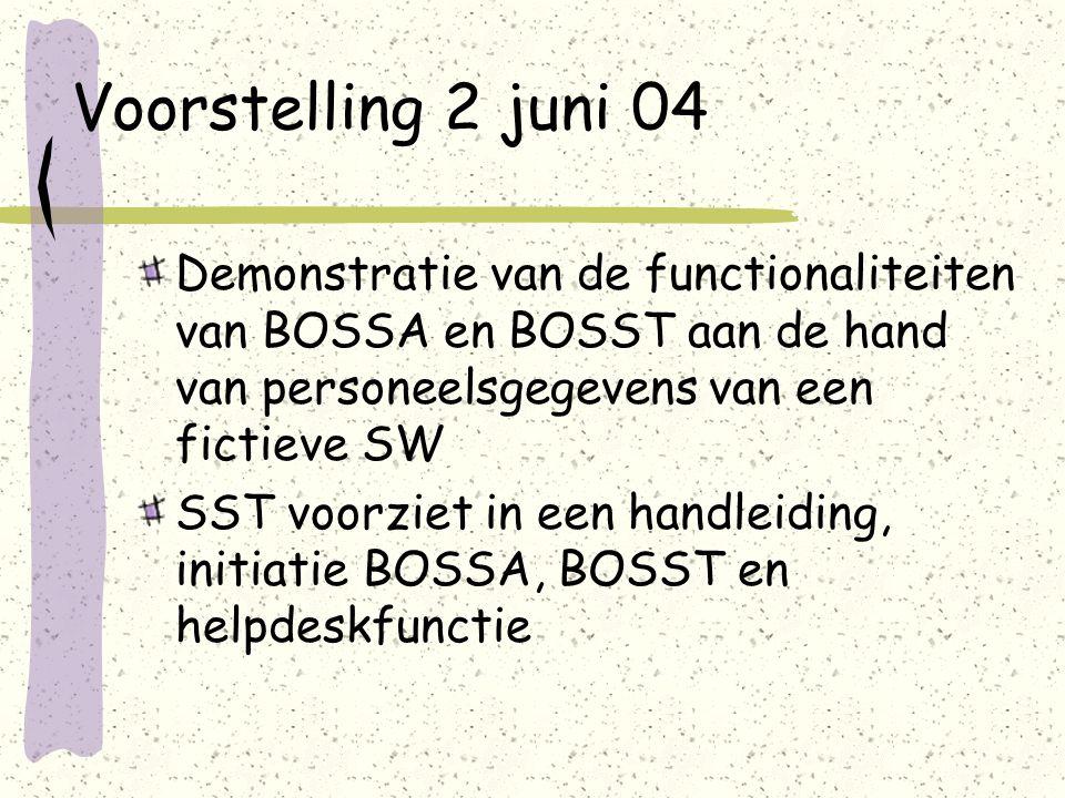 Voorstelling 2 juni 04 Demonstratie van de functionaliteiten van BOSSA en BOSST aan de hand van personeelsgegevens van een fictieve SW SST voorziet in een handleiding, initiatie BOSSA, BOSST en helpdeskfunctie