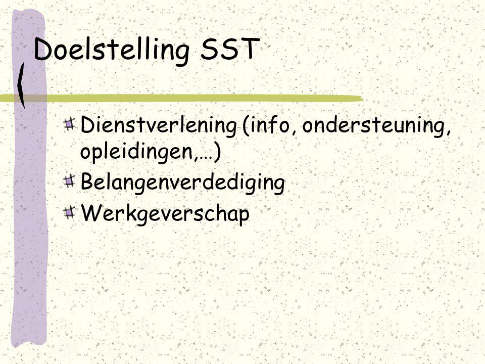 Doelstelling SST Dienstverlening (info, ondersteuning, opleidingen,…) Belangenverdediging Werkgeverschap