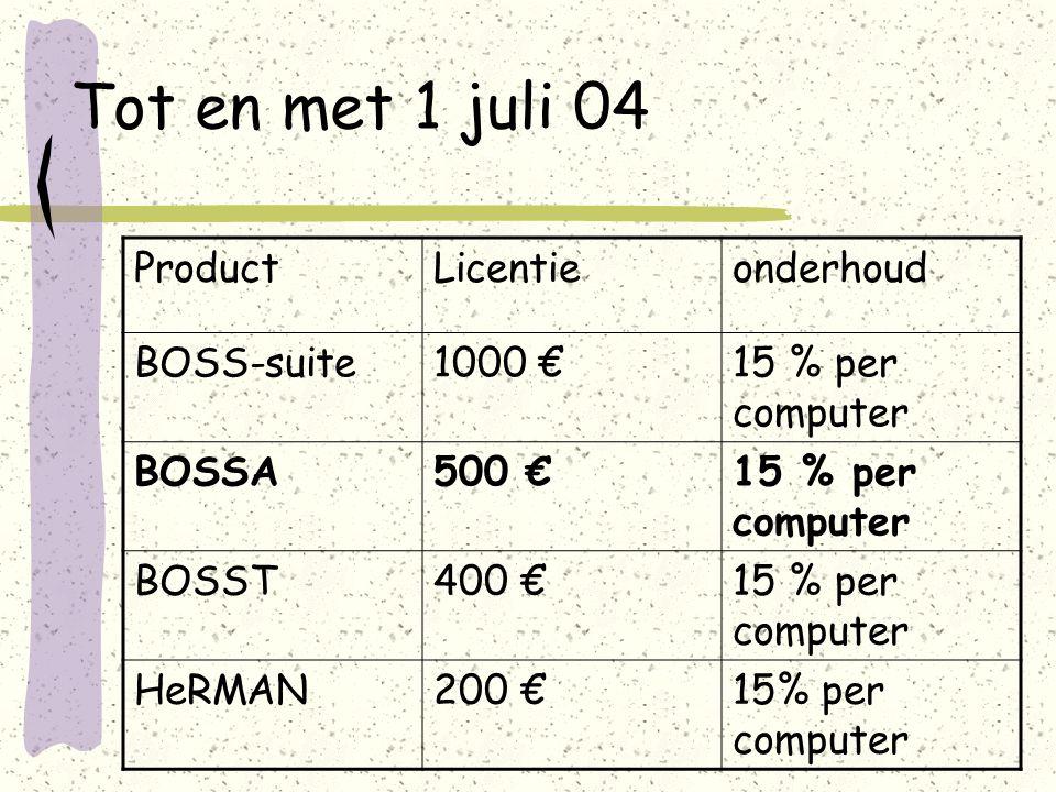 Tot en met 1 juli 04 ProductLicentieonderhoud BOSS-suite1000 €15 % per computer BOSSA500 €15 % per computer BOSST400 €15 % per computer HeRMAN200 €15% per computer