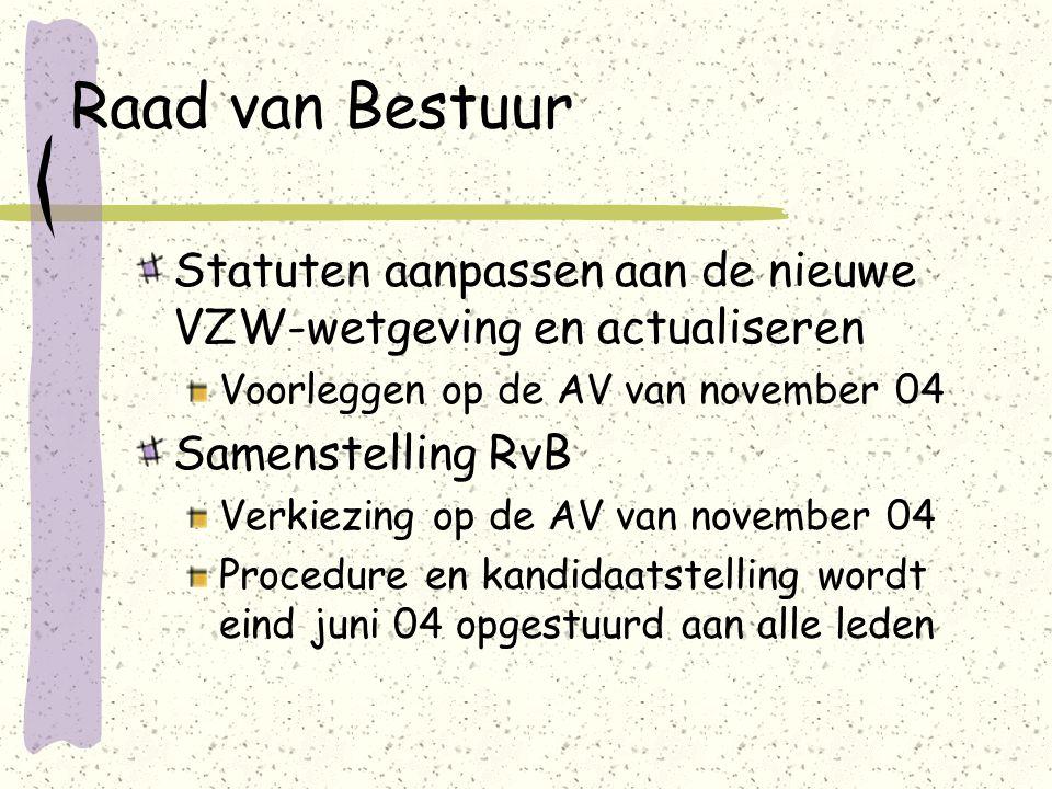 Raad van Bestuur Statuten aanpassen aan de nieuwe VZW-wetgeving en actualiseren Voorleggen op de AV van november 04 Samenstelling RvB Verkiezing op de