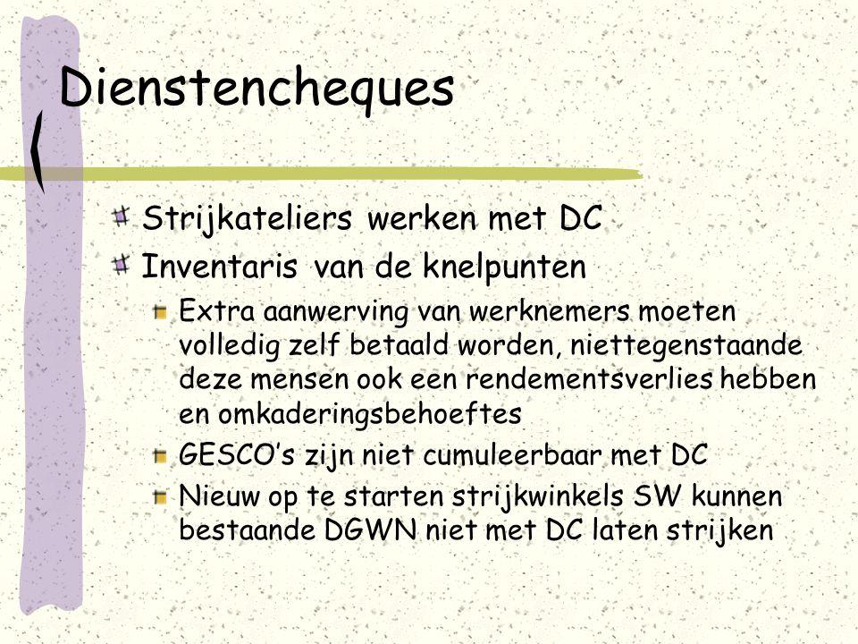Dienstencheques Strijkateliers werken met DC Inventaris van de knelpunten Extra aanwerving van werknemers moeten volledig zelf betaald worden, nietteg