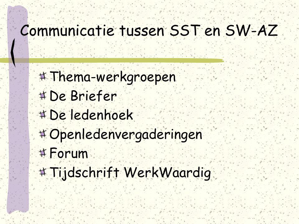 Communicatie tussen SST en SW-AZ Thema-werkgroepen De Briefer De ledenhoek Openledenvergaderingen Forum Tijdschrift WerkWaardig
