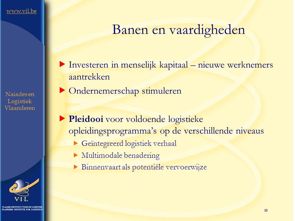10 www.vil.be Naiades en Logistiek Vlaanderen Banen en vaardigheden  Investeren in menselijk kapitaal – nieuwe werknemers aantrekken  Ondernemerschap stimuleren  Pleidooi voor voldoende logistieke opleidingsprogramma's op de verschillende niveaus  Geïntegreerd logistiek verhaal  Multimodale benadering  Binnenvaart als potentiële vervoerwijze