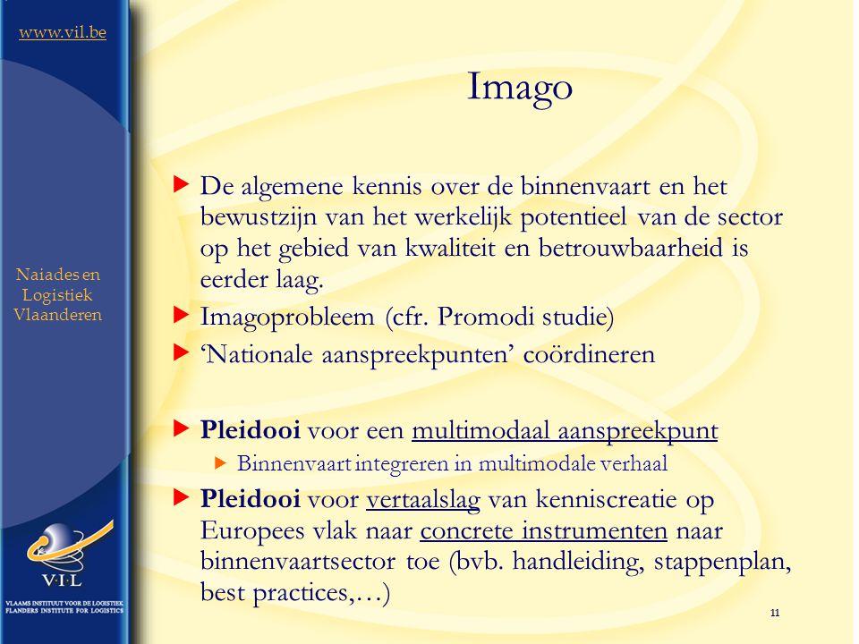 11 www.vil.be Naiades en Logistiek Vlaanderen Imago  De algemene kennis over de binnenvaart en het bewustzijn van het werkelijk potentieel van de sector op het gebied van kwaliteit en betrouwbaarheid is eerder laag.