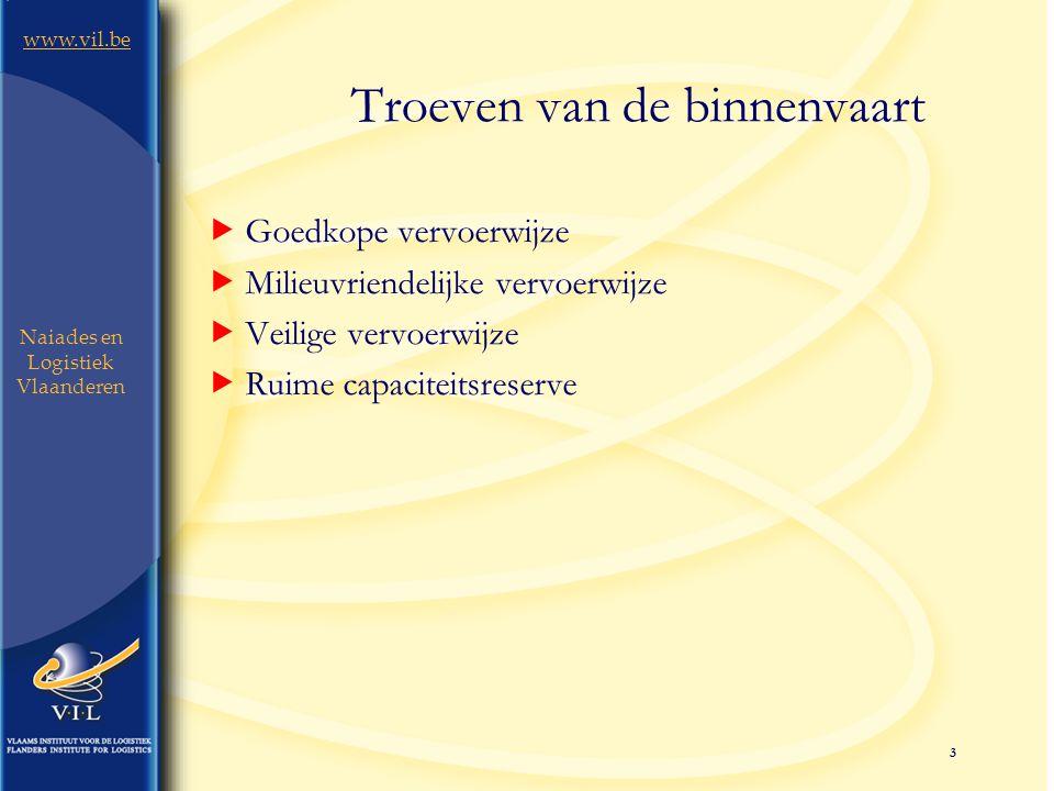 3 www.vil.be Naiades en Logistiek Vlaanderen Troeven van de binnenvaart  Goedkope vervoerwijze  Milieuvriendelijke vervoerwijze  Veilige vervoerwijze  Ruime capaciteitsreserve