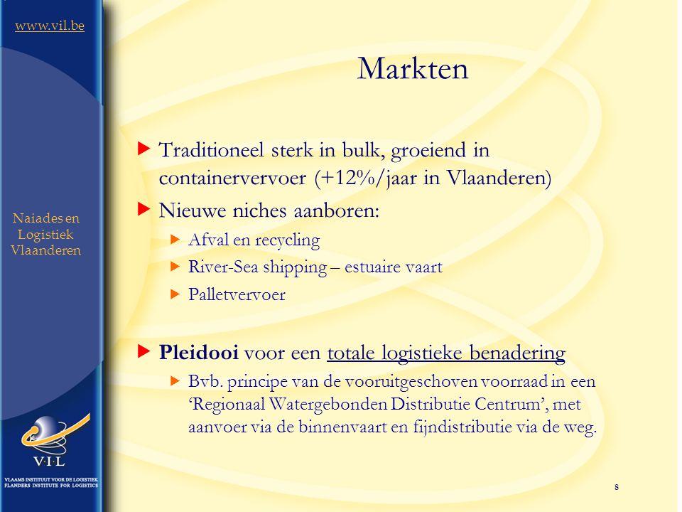 8 www.vil.be Naiades en Logistiek Vlaanderen Markten  Traditioneel sterk in bulk, groeiend in containervervoer (+12%/jaar in Vlaanderen)  Nieuwe niches aanboren:  Afval en recycling  River-Sea shipping – estuaire vaart  Palletvervoer  Pleidooi voor een totale logistieke benadering  Bvb.