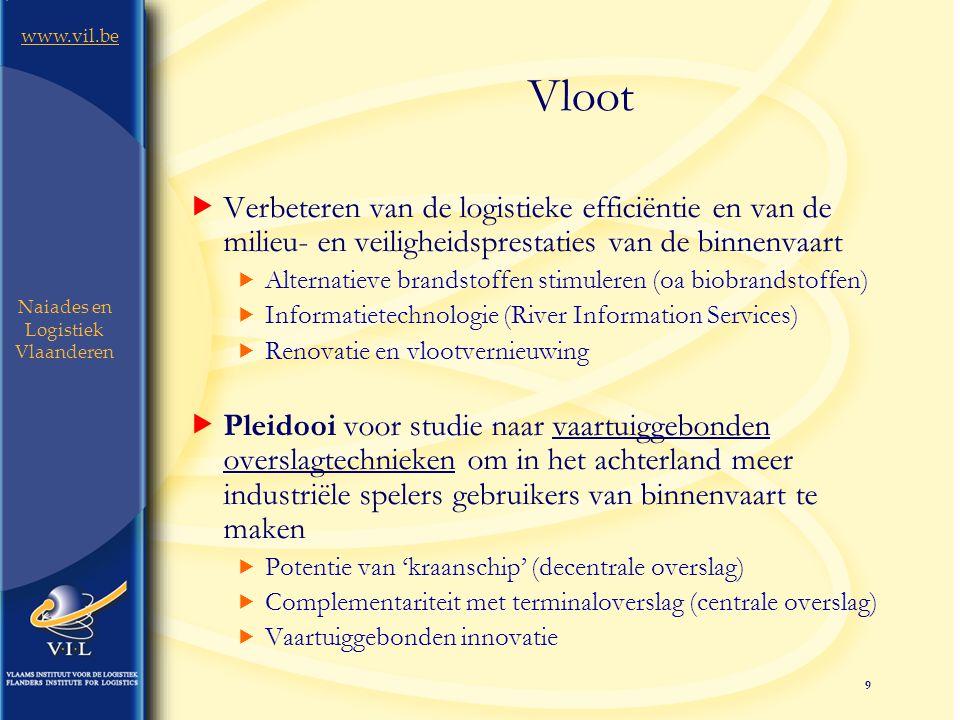9 www.vil.be Naiades en Logistiek Vlaanderen Vloot  Verbeteren van de logistieke efficiëntie en van de milieu- en veiligheidsprestaties van de binnenvaart  Alternatieve brandstoffen stimuleren (oa biobrandstoffen)  Informatietechnologie (River Information Services)  Renovatie en vlootvernieuwing  Pleidooi voor studie naar vaartuiggebonden overslagtechnieken om in het achterland meer industriële spelers gebruikers van binnenvaart te maken  Potentie van 'kraanschip' (decentrale overslag)  Complementariteit met terminaloverslag (centrale overslag)  Vaartuiggebonden innovatie