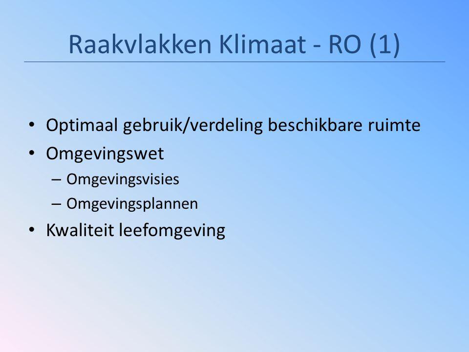 Raakvlakken Klimaat - RO (1) Optimaal gebruik/verdeling beschikbare ruimte Omgevingswet – Omgevingsvisies – Omgevingsplannen Kwaliteit leefomgeving