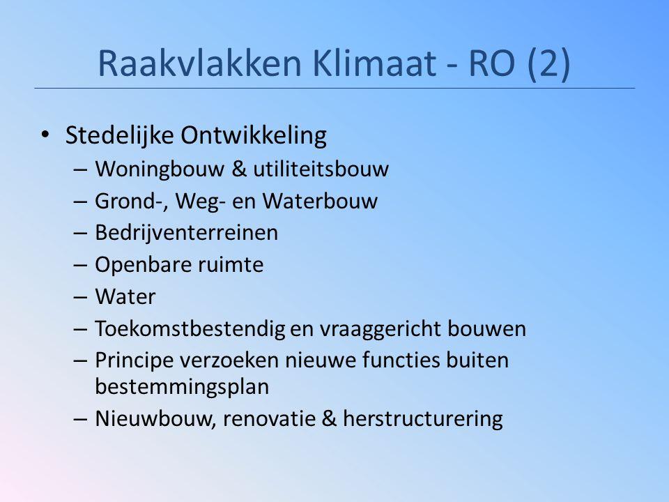 Raakvlakken Klimaat - RO (2) Stedelijke Ontwikkeling – Woningbouw & utiliteitsbouw – Grond-, Weg- en Waterbouw – Bedrijventerreinen – Openbare ruimte
